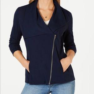 Ribbed-knit drape-front jacket.